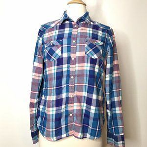 American Eagle Outfitters Pearl Snap Top  L Plaid